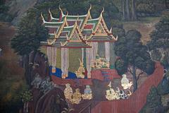 thai mural painting - stock photo