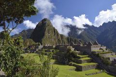 Inca ruins of Machu Picchu UNESCO World Cultural Heritage Site Urubamba Valley - stock photo