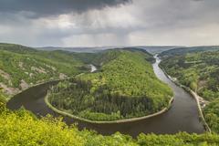 Loop of the Saar River near Orscholz Mettlach Saarland Germany Europe - stock photo