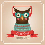 Vector Illustration of Hipster Owl - stock illustration