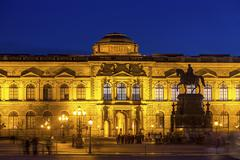 Zwinger Palace and an equestrian statue at night UNESCO World Heritage Site Stock Photos
