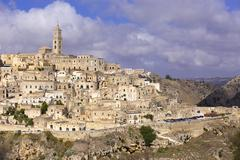 Medieval old town Sassi di Matera Matera Basilicata Italy Europe - stock photo
