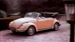 Volkswagen Beetle Pulls Up - Vintage 16mm Film Stock Footage