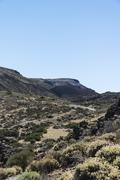 Volcanic landscape plateau covered with shrubs Llano de Uruanca surrounding - stock photo
