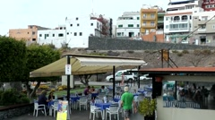 Spain The Canary Islands Tenerife 033 restaurant on promenade of Los Gigantes Stock Footage
