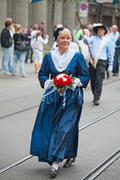 Swiss national day parade in zurich Stock Photos