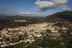 Historic centre Rocca Maggiore Monte Subasio Assisi Umbria Italy Europe - stock photo
