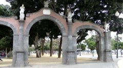 Spain The Canary Islands Tenerife 037 archway in city park of Santa Cruz Stock Footage