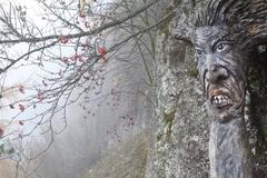 Mountain spirit eerie face carved into a tree forest in the fog red fruits of - stock photo