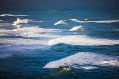 Waves breaking in Hanalei Bay Kauai Hawaii USA Stock Photos