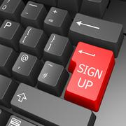 sign up key on computer keyboard - stock illustration