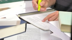 4K Highlighting Text Study Book School Stock Footage