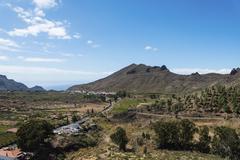 Volcanic landscape Santiago del Teide Tenerife Canary Islands Spain Europe - stock photo