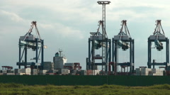Bremerhaven Container Terminal, Germany Stock Footage