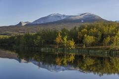 Vuolio Njahkajavri Lake Abisko National Park Norrbotten County Sweden Europe - stock photo