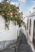 Alleyway between houses with flowers Santa Cruz de La Palma Canary Islands Stock Photos