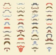 Vector colorful mustache icon set Stock Illustration