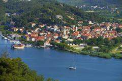 Townscape of Skradin River Krka Dalmatia Croatia Europe - stock photo