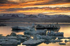 Icebergs Jokulsarlon Glacier Lagoon in the afterglow Vatnajokull Glacier Stock Photos