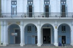 Blue house facade with a front porch Havana Cuba North America Stock Photos