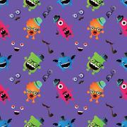 Hipster Monster Seamless Pattern - stock illustration
