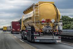 Stock Photo of Special vehicle for fluid transportation on the motorway Dusseldorf North