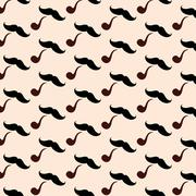 Stock Illustration of Hipster Mustache With Pipe Seamless Pattern