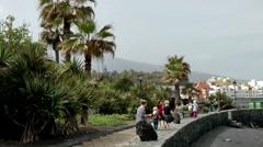 Spain The Canary Islands Tenerife 010 Puerto de la Cruz waterfront promenade Stock Footage