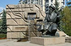 Monument to the folk singer Jambyl Jabayev Almaty Kazakhstan Asia - stock photo