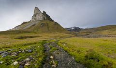 Stock Photo of Alkhornet mountain Trygghamna bay Isfjorden fjord Spitsbergen Svalbard Islands