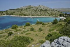 Excursion boats in Lojena Bay Levrnaka Island Kornati islands Kornati National Stock Photos