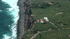 Spain The Canary Islands Tenerife 017 coast, breakwater, plantations from air Stock Footage