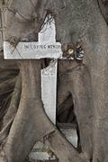 Old cross overgrown by a tree cemetery of the Archangel Michael Cemiterio Sao - stock photo