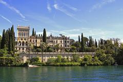 Villa Borghese Cavazza Isola del Garda island in Lake Garda Northern Italy - stock photo