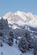 Sass Rigais mountain in winter Seiser Alm Province of South Tyrol Italy Europe Stock Photos