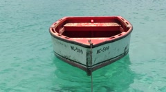 Solitary Fisherboat floating in the sea Stock Footage