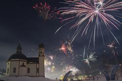 New Years Eve fireworks in Seefeld Tyrol Austria Europe Kuvituskuvat