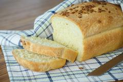 fresh homemade corn bread with seeds - stock photo