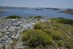 View from Levrnaka island over the Kornati Islands Adriatic Sea Kornati Islands - stock photo