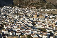 The Andalusian town of Algodonales Sierra de Cadiz Sierra de Lijar Cadiz - stock photo