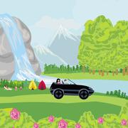 Stock Illustration of camping over waterfall