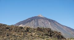 Volcanic landscape plateau covered with shrubs Llano de Uruanca with Pico del - stock photo