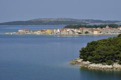 Houses on Krapanj island Adriatic Sibenik Knin Croatia Europe Stock Photos