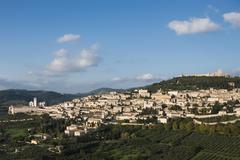 Historic centre Rocca Maggiore Assisi Umbria Italy Europe Stock Photos