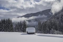 Wooden hut covered with a lot of snow Obertilliach Lesachtal valley East Tyrol - stock photo