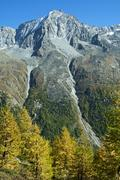 Dent de Perroc mountain Val dHerens valley Arolla Canton of Valais Switzerland - stock photo