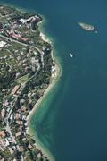 Aerial view Malcesine Lake Garda Isola di Immaginazione Veneto Verona Province - stock photo