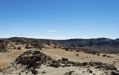 Volcanic landscape surrounding the Pico del Teide 3718m Plateau de Llano - stock photo
