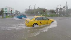 Typhoon Flooded streets Stock Footage