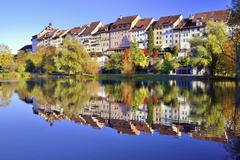 Stock Photo of Historic centre of Wil with reflection in pond of municipal park Canton of St